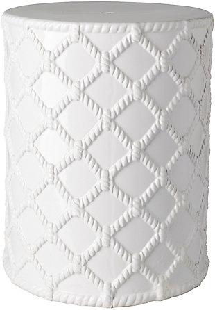 Ceramic Gaylor 14.25 x 14.25 x 17.5 Garden Stool, White, large