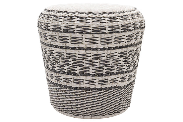 Contemporary Parkdale 18.1 x 18.1 x 17.7 Stool, Gray/White, large