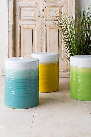 Ceramic Waverly 12.8 x 12.8 x 18.1 Stool, Aqua/White, large
