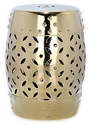 Safavieh Gold Lattice Coin Garden Stool, , rollover