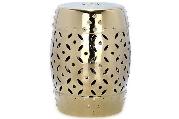 Safavieh Gold Lattice Coin Garden Stool, , large