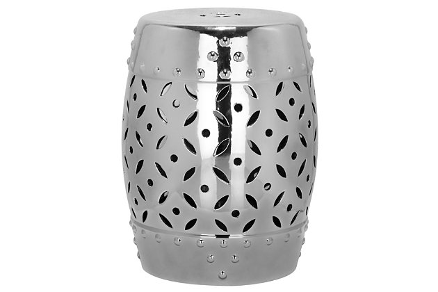 Safavieh Silver Lattice Coin Garden Stool, , large