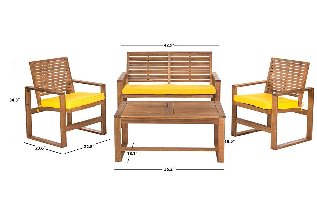 Safavieh Ozark Outdoor Living Set (Set of 4), , large