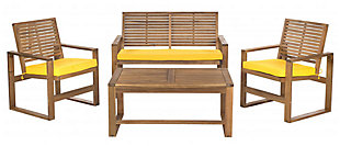 Safavieh Ozark Outdoor Living Set (Set of 4), Brown/Yellow, large