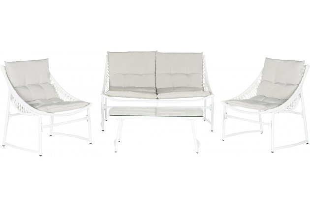Safavieh Berkane Outdoor Set (Set of 4), White Gray, large