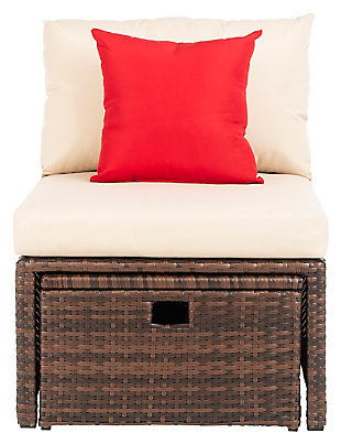 Safavieh Telford Rattan Outdoor Settee And Storage Ottoman (Set of 2), Brown/Beige, rollover