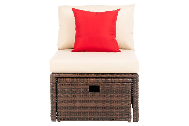Safavieh Telford Rattan Outdoor Settee And Storage Ottoman (Set of 2), Brown/Beige, large