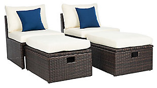 Safavieh Telford Rattan Outdoor Settee And Storage Ottoman (Set of 2), Brown/White/Blue, large