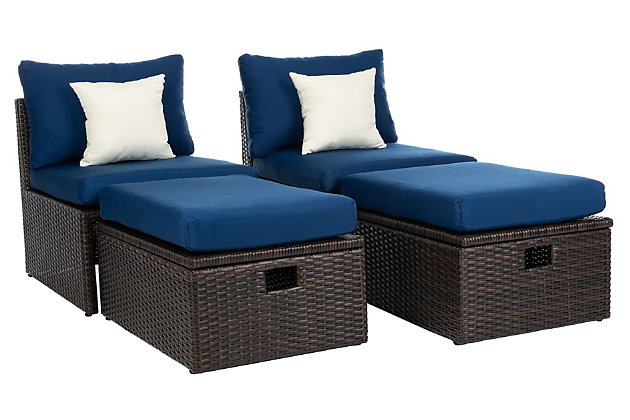 Safavieh Telford Rattan Outdoor Settee And Storage Ottoman (Set of 2), Brown/Blue/White, large