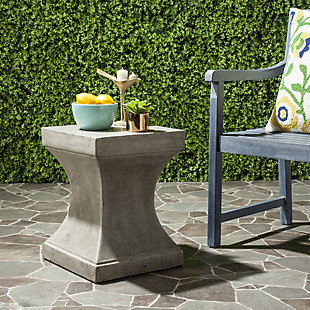 Safavieh Curby Indoor/Outdoor Modern Concrete Accent Table, Gray, rollover