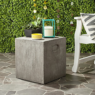 Safavieh Cube Indoor/Outdoor Modern Concrete Accent Table, Gray, rollover