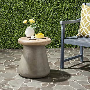 Safavieh Button Indoor/Outdoor Modern Concrete Accent Table, Gray, rollover