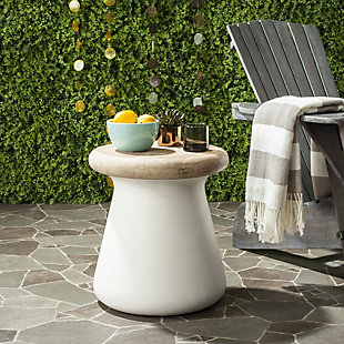 Safavieh Button Indoor/Outdoor Modern Concrete Accent Table, White/Brown, large