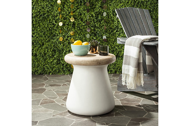 Safavieh Button Indoor/Outdoor Modern Concrete Accent Table, , large
