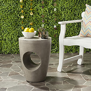 Safavieh Aishi Indoor/Outdoor Modern Concrete Accent Table, Gray, rollover