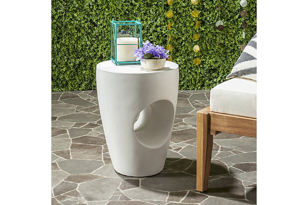 Safavieh Aishi Indoor/Outdoor Modern Concrete Accent Table, , large