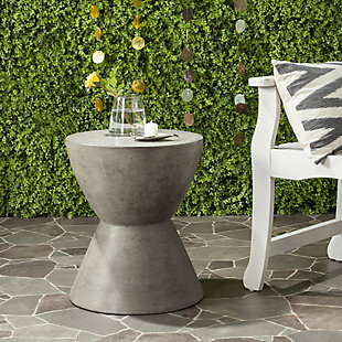 Safavieh Athena Indoor/Outdoor Modern Concrete Accent Table, Gray, rollover
