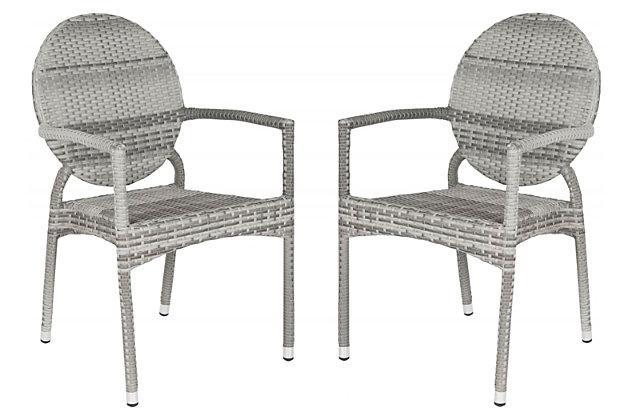 Safavieh Valdez Indoor/Outdoor French Bistro Stacking Side Chair (Set of 2), , large