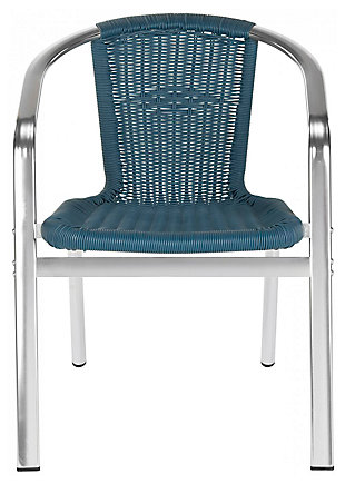 Safavieh Wrangell Indoor/Outdoor Stacking Armchair (Set of 2), Blue, large