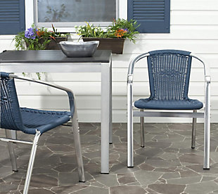 Safavieh Wrangell Indoor/Outdoor Stacking Armchair (Set of 2), Blue, rollover