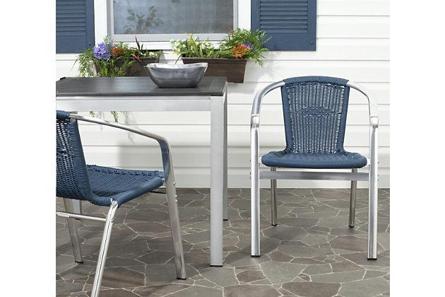Safavieh Wrangell Indoor/Outdoor Stacking Armchair, Blue, large
