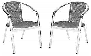 Safavieh Wrangell Indoor/Outdoor Stacking Armchair (Set of 2), Gray, large