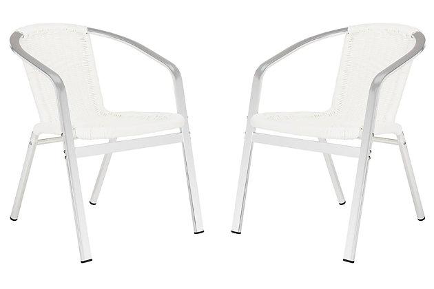 Safavieh Wrangell Indoor/Outdoor Stacking Armchair, White, large