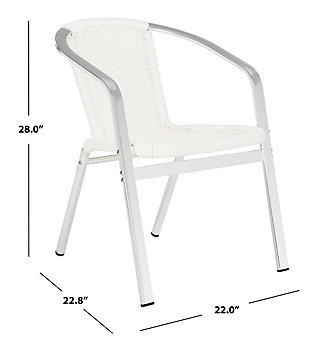 Safavieh Wrangell Indoor/Outdoor Stacking Armchair (Set of 2), White, large