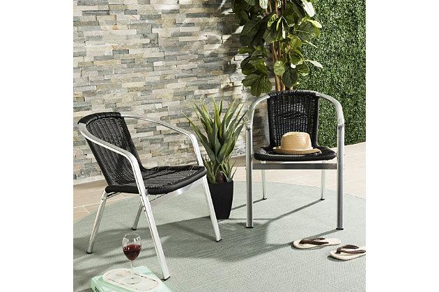 Safavieh Wrangell Indoor/Outdoor Stacking Armchair (Set of 2), Black, large