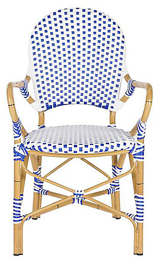 Safavieh Hooper Indoor/Outdoor Stacking Arm Chair (Set of 2), Blue/White, large