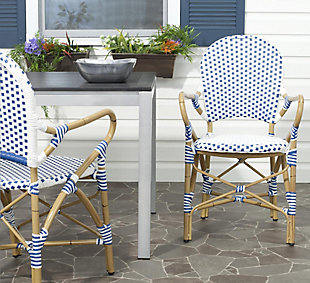 Safavieh Hooper Indoor/Outdoor Stacking Arm Chair (Set of 2), Blue/White, rollover
