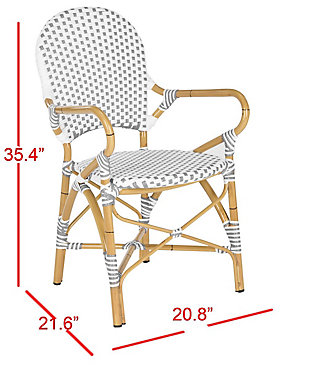 Safavieh Hooper Indoor/Outdoor Stacking Arm Chair (Set of 2), Gray/White/Brown, large