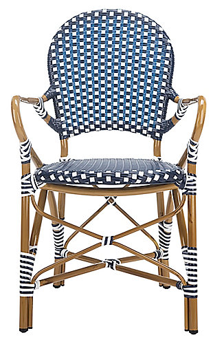 Safavieh Hooper Indoor/Outdoor Stacking Arm Chair, Blue/White, large