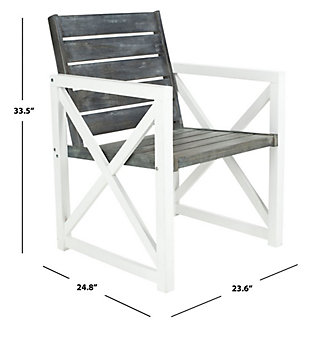 Safavieh Irina Armchair (Set of 2), White/Gray, large
