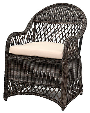 Safavieh Davies Wicker Arm Chair (Set of 2), Gray/Beige, large