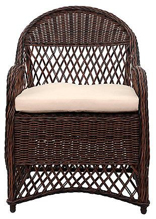 Safavieh Davies Wicker Arm Chair (Set of 2), Brown/Beige, large