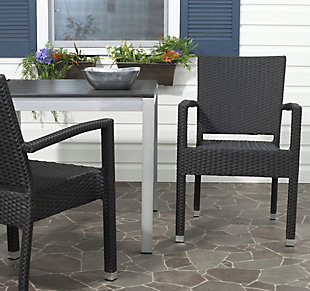 Safavieh Kelda Stacking Arm Chair (Set of 2), Black, rollover