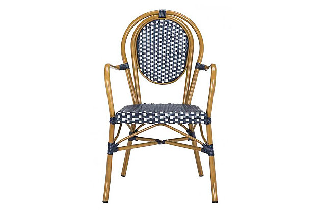 Safavieh Rosen French Bistro Stacking Arm Chair (Set of 2), Blue/White, large