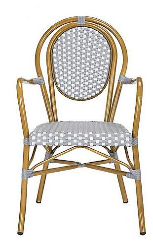 Safavieh Rosen French Bistro Stacking Arm Chair (Set of 2), Gray/White, large