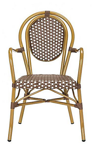 Safavieh Rosen French Bistro Stacking Arm Chair (Set of 2), Brown/White, large