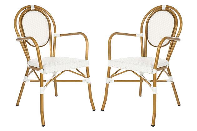 Safavieh Rosen French Bistro Stacking Arm Chair (Set of 2), White/Brown, large