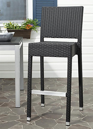 Safavieh Bethel Indoor/Outdoor Bar Stool, Black, rollover