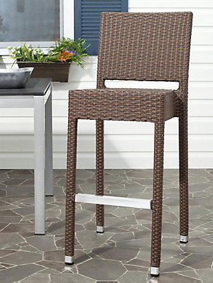 Safavieh Bethel Indoor/Outdoor Bar Stool, Brown, rollover