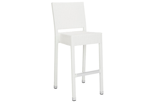 Safavieh Bethel Indoor/Outdoor Bar Stool, White, large