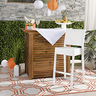 Safavieh Bethel Indoor/Outdoor Bar Stool, White, rollover