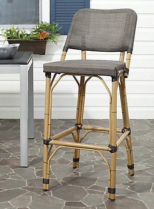Safavieh Deltana Indoor/Outdoor Stacking Bar Stool, Brown, rollover