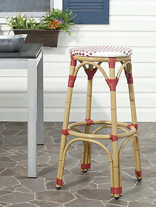 Safavieh Kipnuk Indoor/Outdoor Stacking Bar Stool, Red/Brown/White, rollover