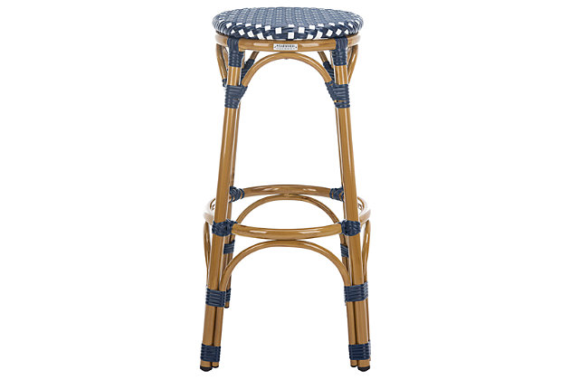 Safavieh Kipnuk Indoor/Outdoor Stacking Bar Stool, Blue/White, large