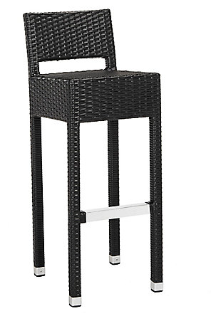 Safavieh Landry Indoor/Outdoor Bar Stool, Black, large
