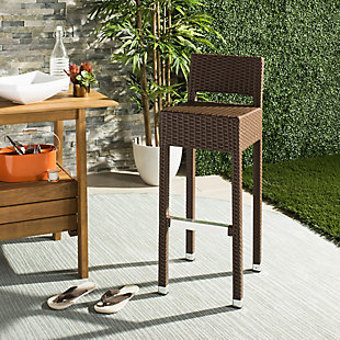 Safavieh Landry Indoor/Outdoor Bar Stool, Brown, rollover